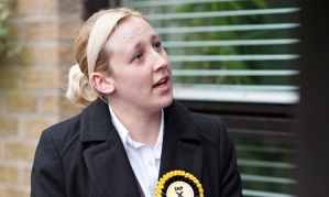 SNP candidate Mhairi Black canvassing in Paisley.